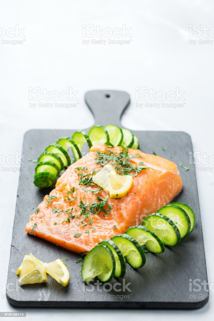 Raw Salmon Fillet For Cooking Japanese Food Stock Photo More