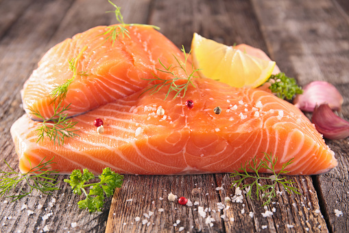 Raw Salmon Fillet Stock Photo - Download Image Now