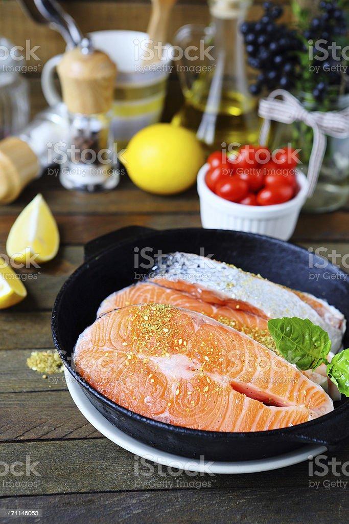 raw salmon fish fillets royalty-free stock photo