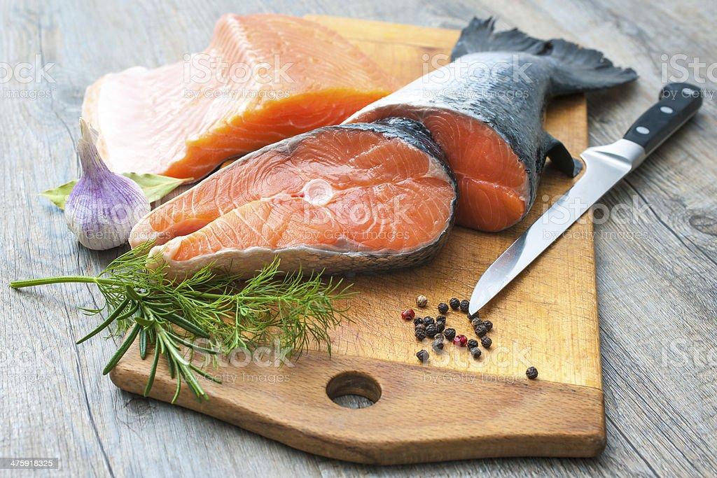 Raw salmon fish steaks stock photo