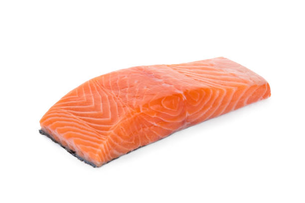 raw salmon piece isolated on white background – zdjęcie