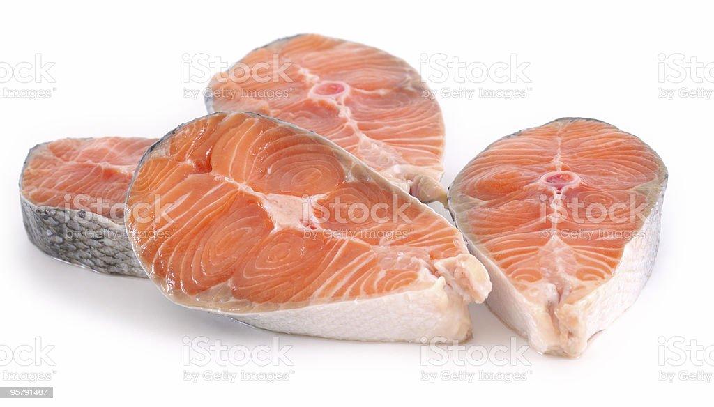 raw salmon steak on white background royalty-free stock photo