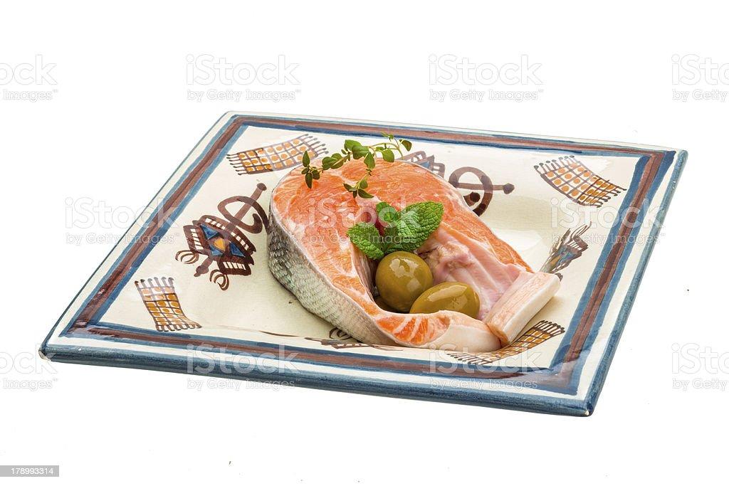 Raw Salmon steak royalty-free stock photo
