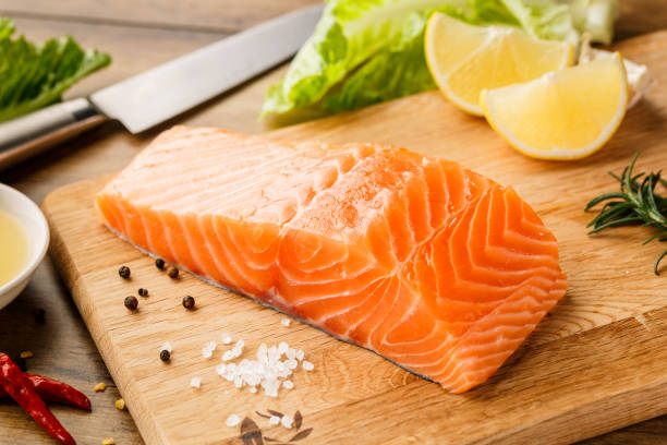 raw salmon steak - animals in the wild stock pictures, royalty-free photos & images