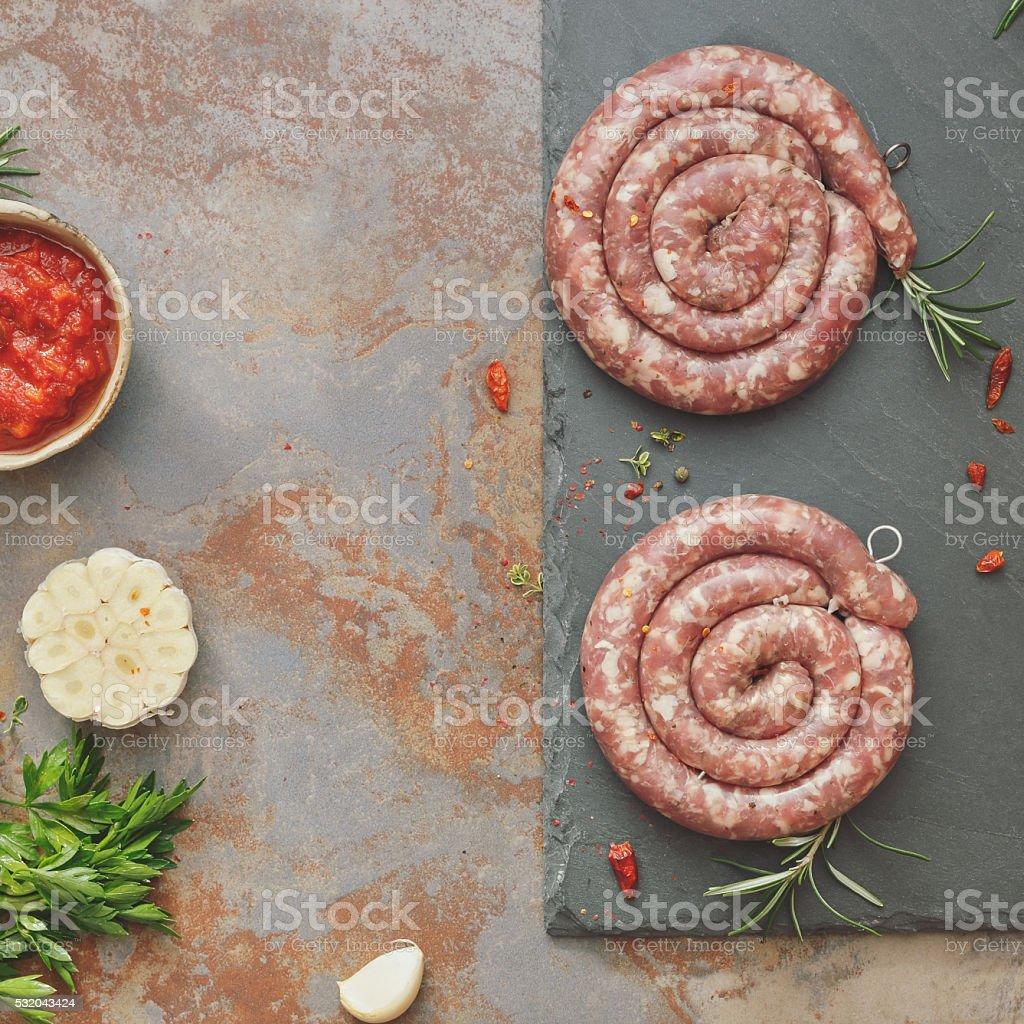 Raw sausages stock photo