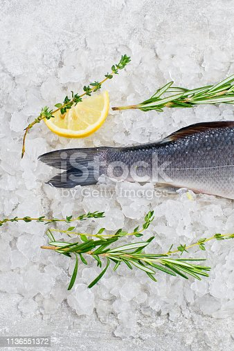 496065234istockphoto Raw sea bass on ice with rosemary, thyme and lemon. Gray background, top view. 1136551372
