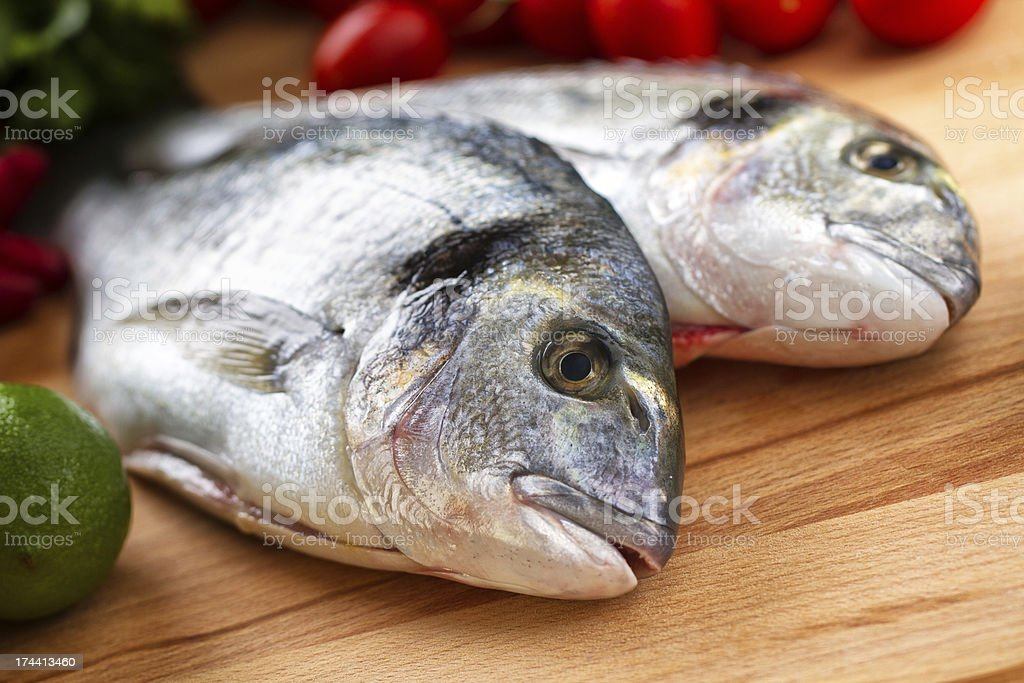 Raw Sea Bream royalty-free stock photo