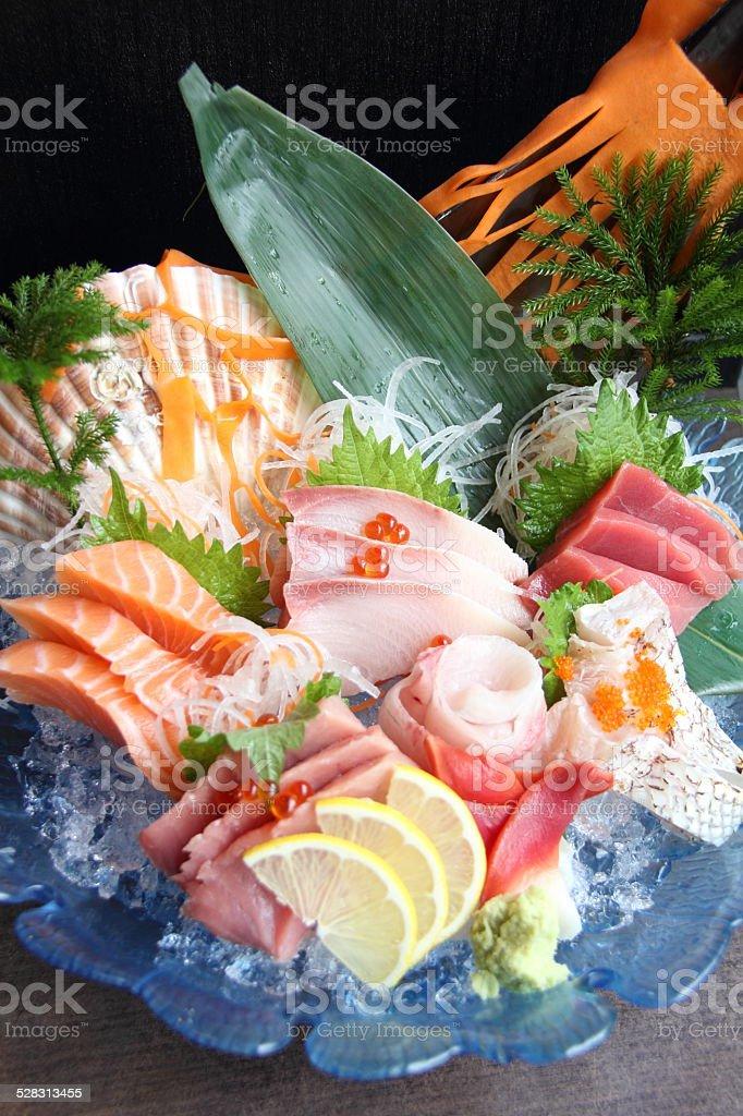 Raw seafood sashimi set stock photo