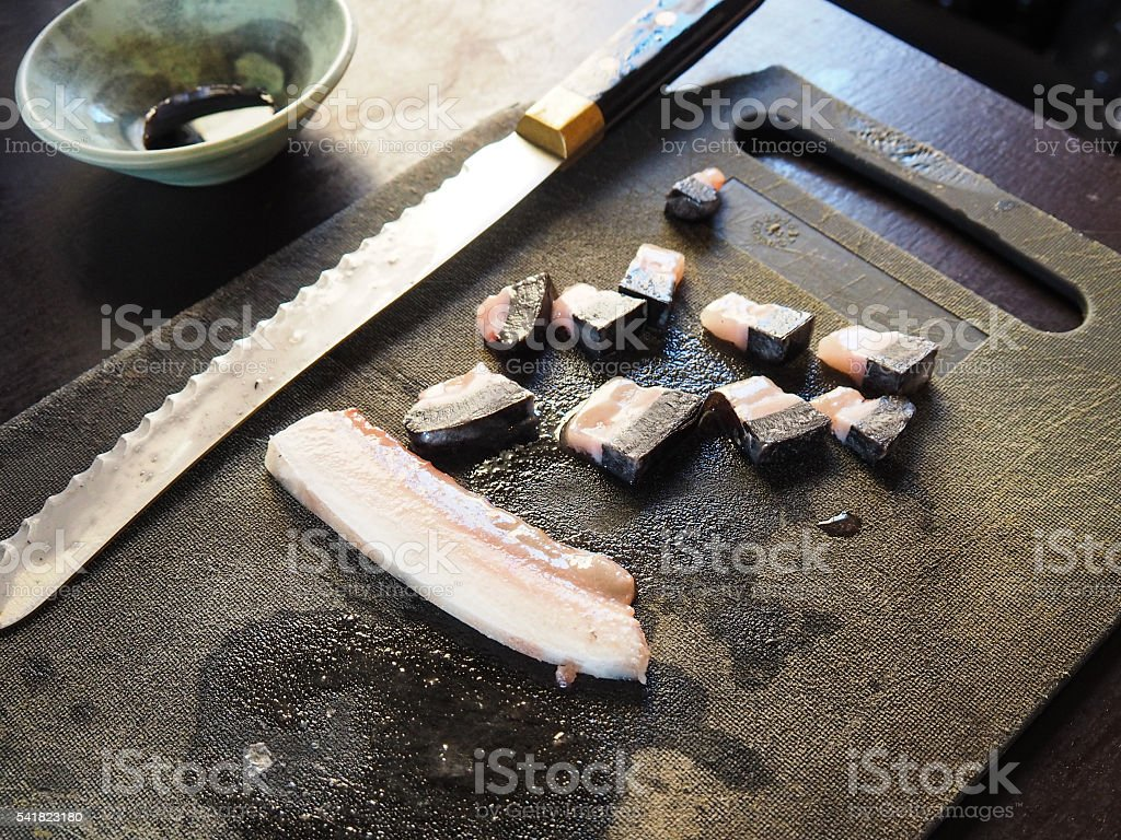 raw seal and narwhal sushi in Canada stock photo