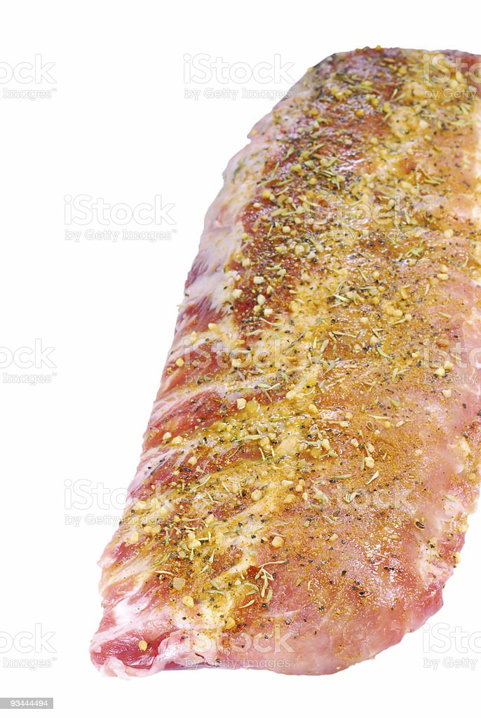 Raw seasoned spare ribs royalty-free stock photo