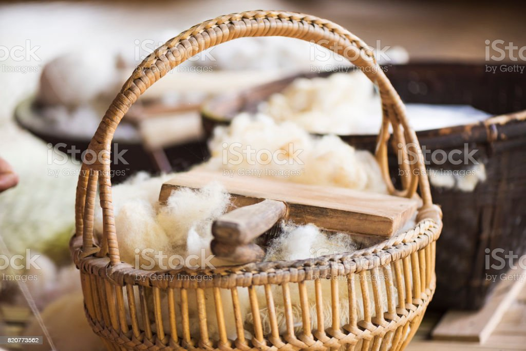 Raw Sheep Wool in The Basket stock photo