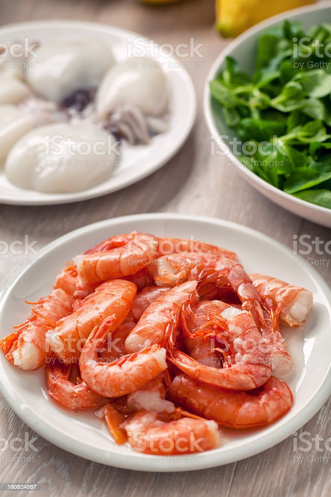Raw shrimp and cuttlefish royalty-free stock photo