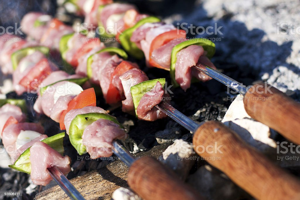Raw skewers royalty-free stock photo