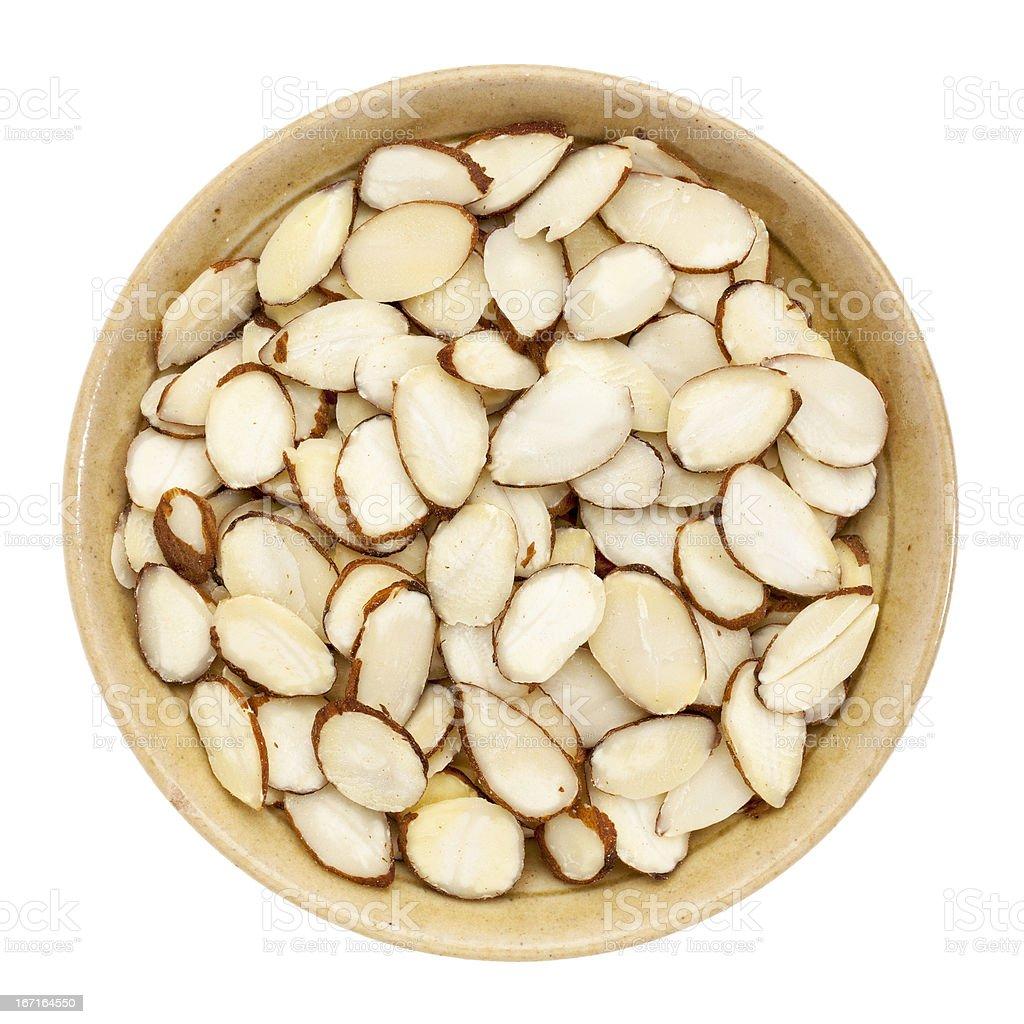 raw sliced almond royalty-free stock photo