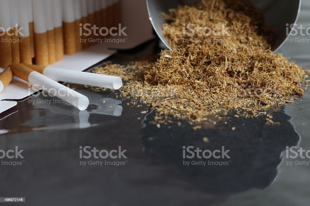 Raw sliced Tobacco with cigarette paper stock photo