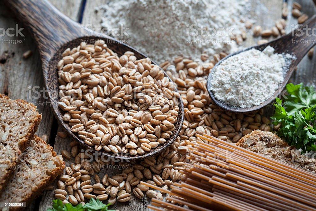 Raw spelt flour pasta bread stock photo