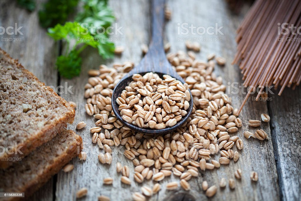 Raw spelt pasta bread stock photo