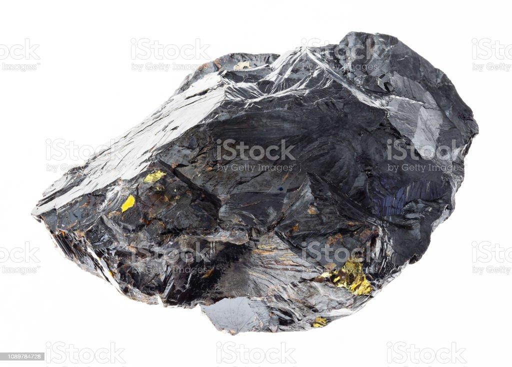 生的青石 (鋅閃電俠) 石在白色 - 免版稅一個物體圖庫照片