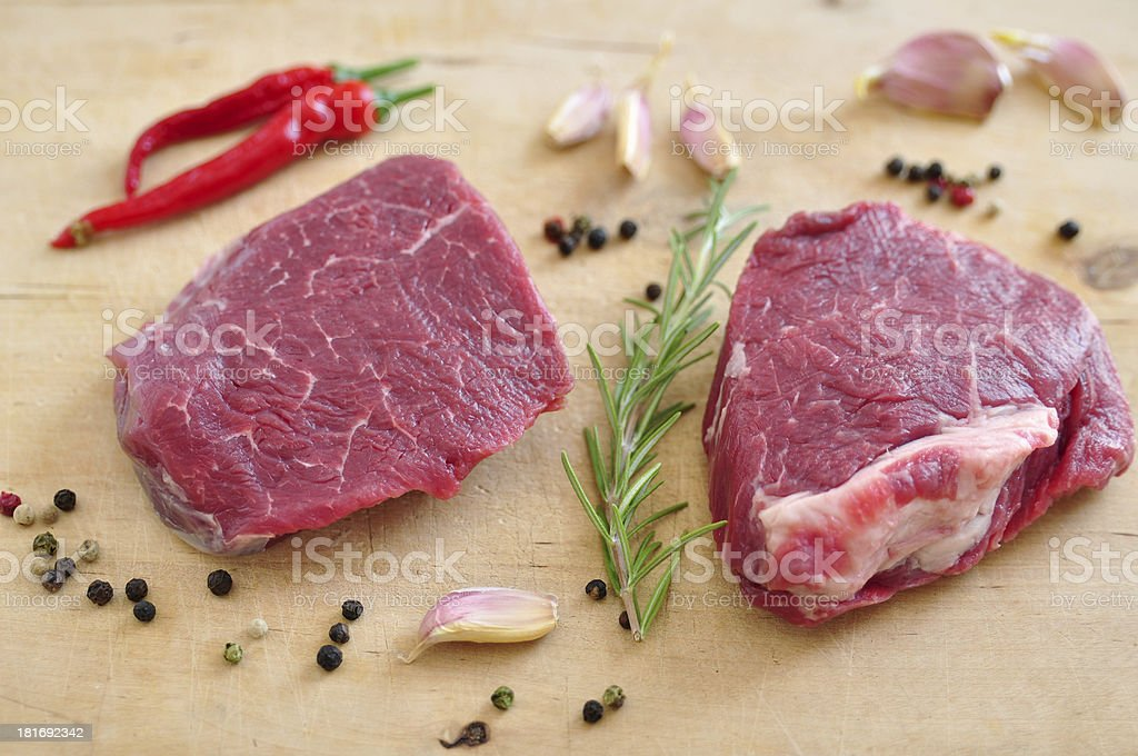 Raw Steak on a chopping board royalty-free stock photo
