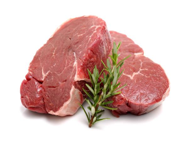 raw steaks on white background - maiale carne foto e immagini stock