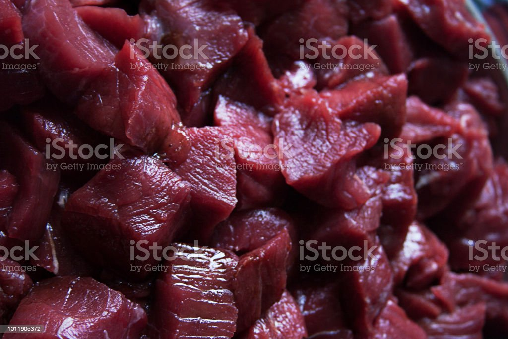Raw Stew Beef stock photo