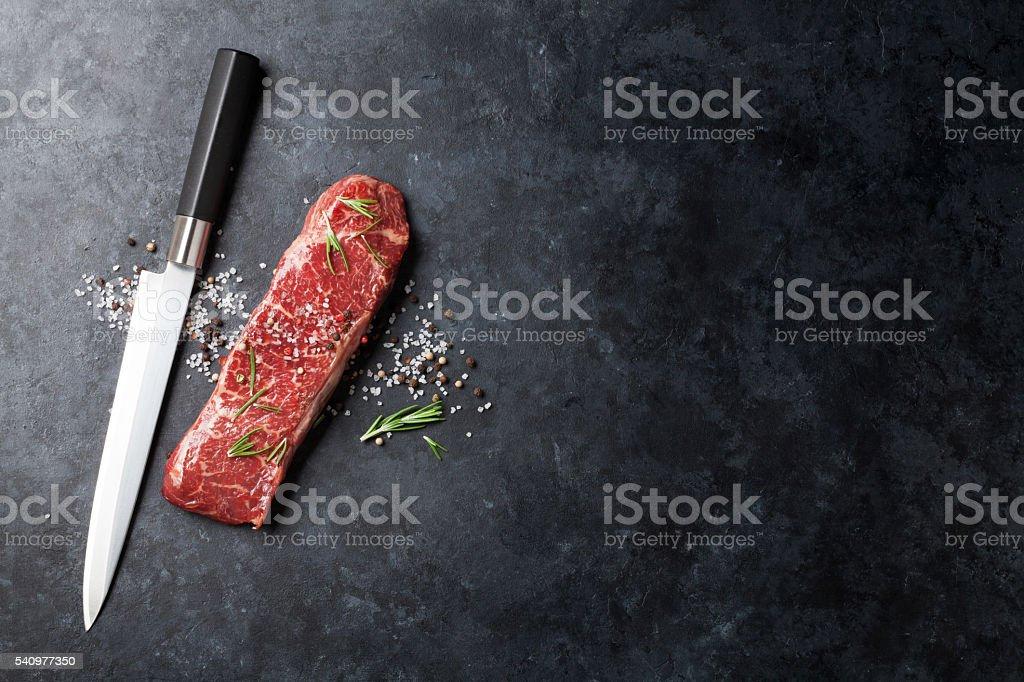 Raw striploin steak stock photo