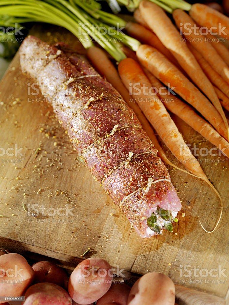Raw Stuffed Pork Tenderloin Roast royalty-free stock photo