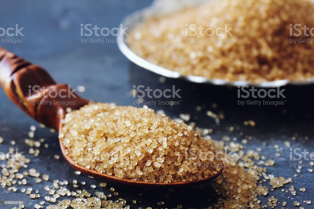 Raw sugar still life stock photo