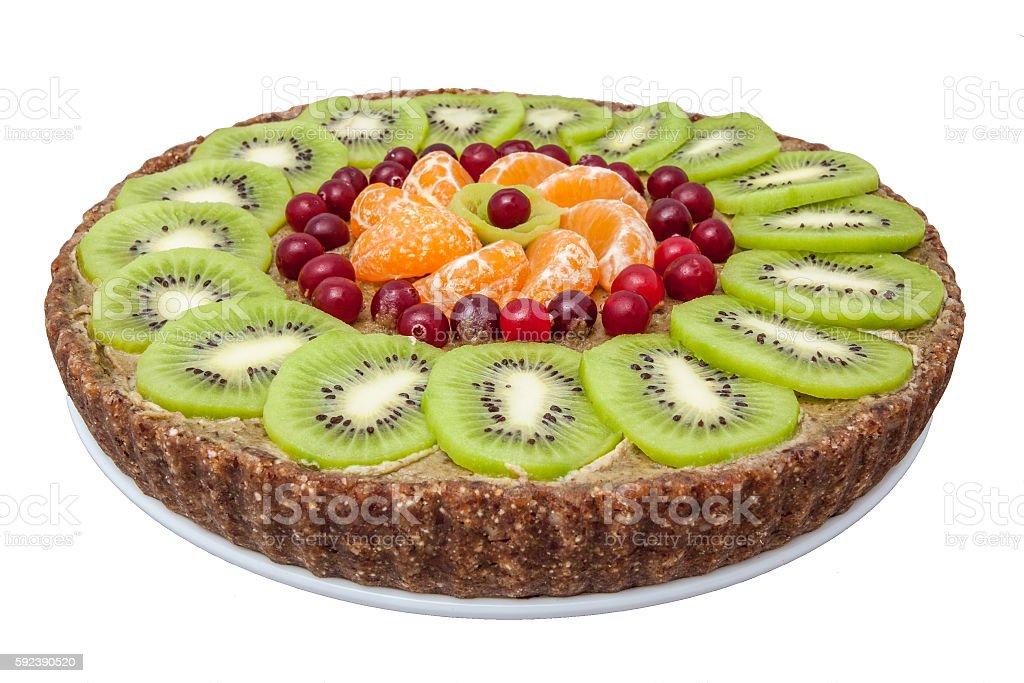 raw sweet cake on plate stock photo