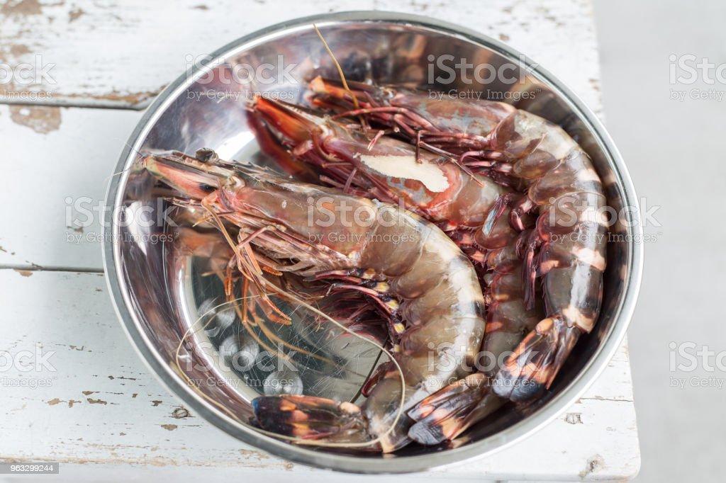 Raw tiger prawns stock photo