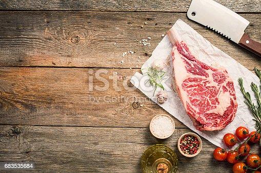 istock Raw tomahawk beef steak 683535684