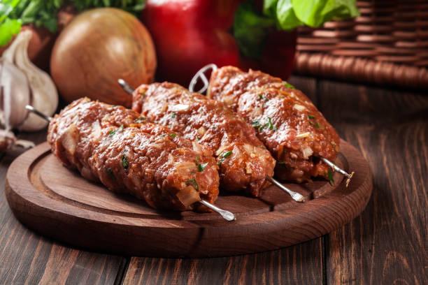 Raw traditional sish kebab stock photo