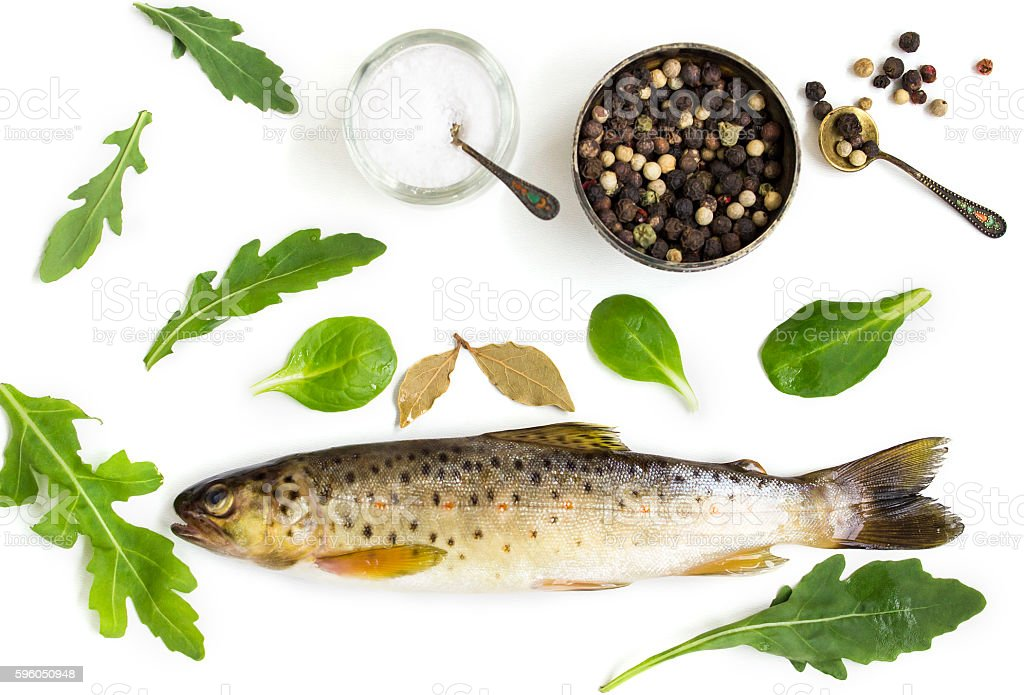 Raw trout on a white background royalty-free stock photo