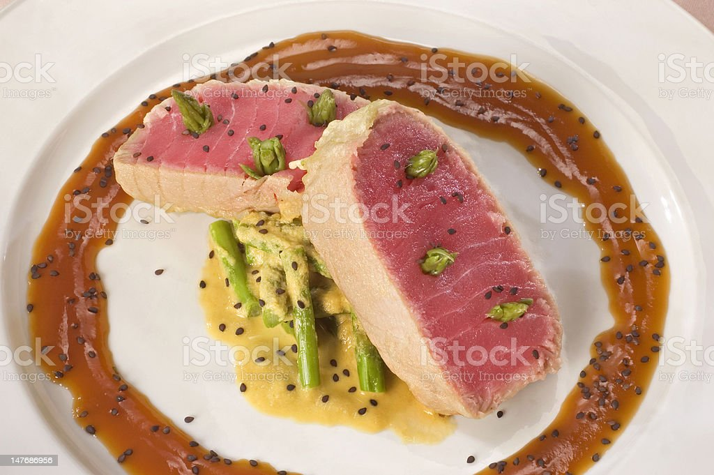 Raw Tuna with Asparagus royalty-free stock photo