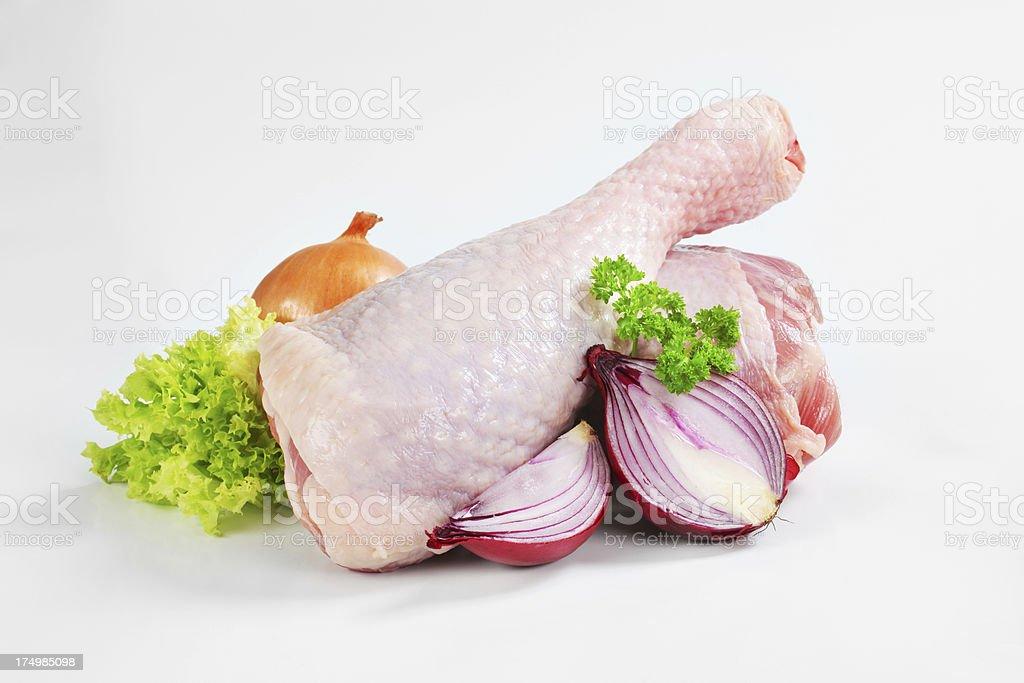 Raw turkey legs isolated on white royalty-free stock photo