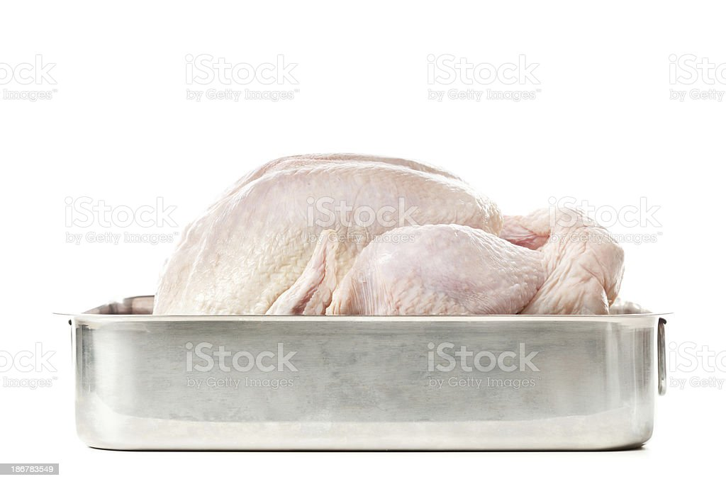 Raw Uncooked Thanksgiving Turkey in Roasting Pan on White Background stock photo