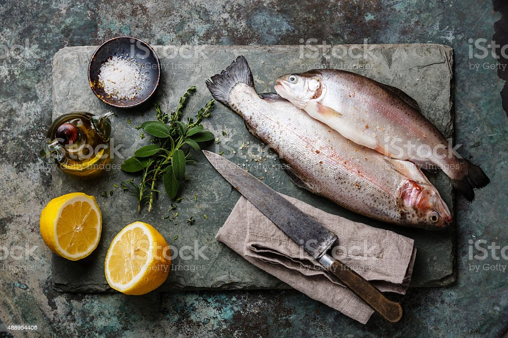 Raw uncooked Trout fish stock photo