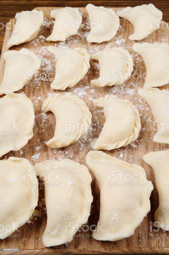 Raw Varenyky (Pierogi), Filled with Cheese stock photo