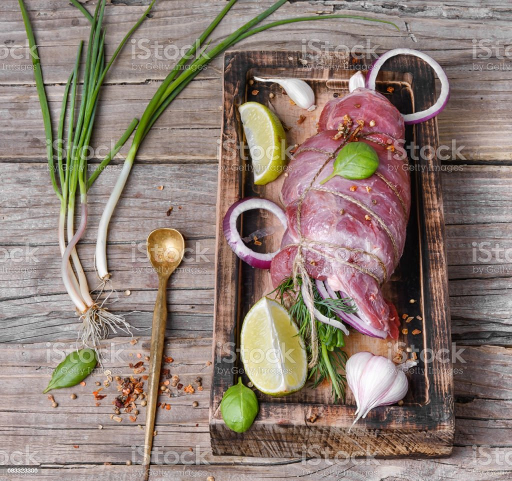 Raw veal meat. royalty-free stock photo