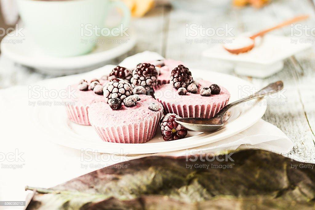vegan cru cheesecake berry com coco, repartido foto royalty-free