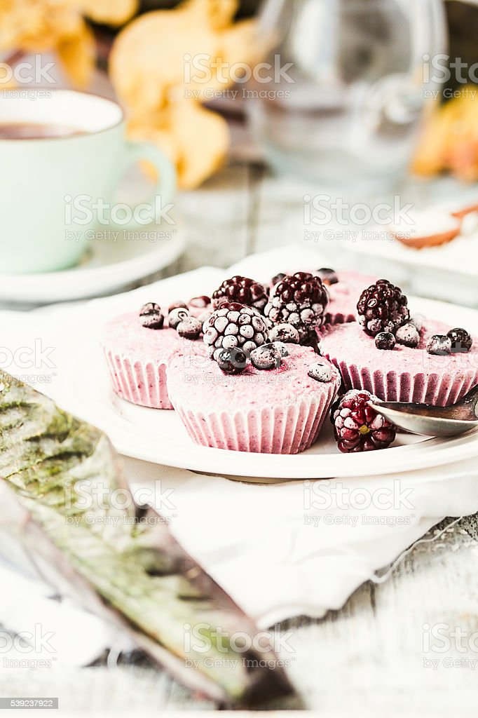 raw vegan berry cheesecake with coconut, portioned royalty-free stock photo