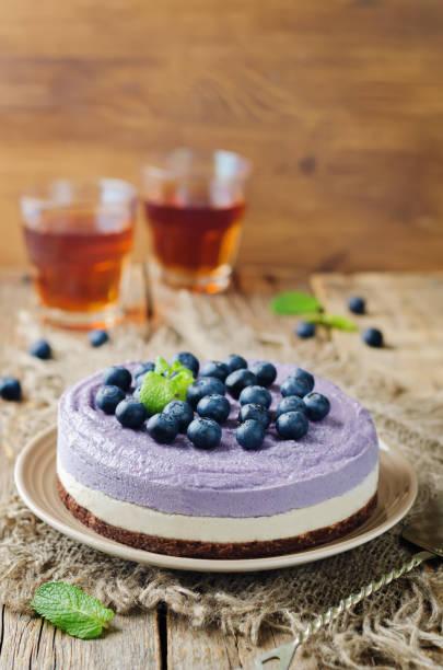 Raw vegan Blueberry Cashews cake stock photo