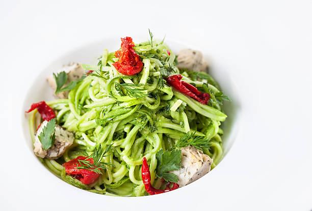 Raw vegan cucumber noodles stock photo