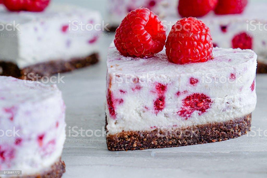 Raw Vegan Raspberry Coconut Cheesecake stock photo