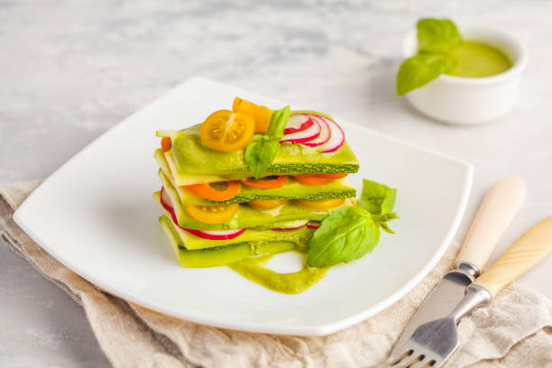 Raw vegan zucchini lasagna with vegetables and pesto sauce light picture id935297362?b=1&k=6&m=935297362&s=612x612&w=0&h=z8eg7oi6lcx07dmqeuwwt5u688vwxmipevr40belzge=