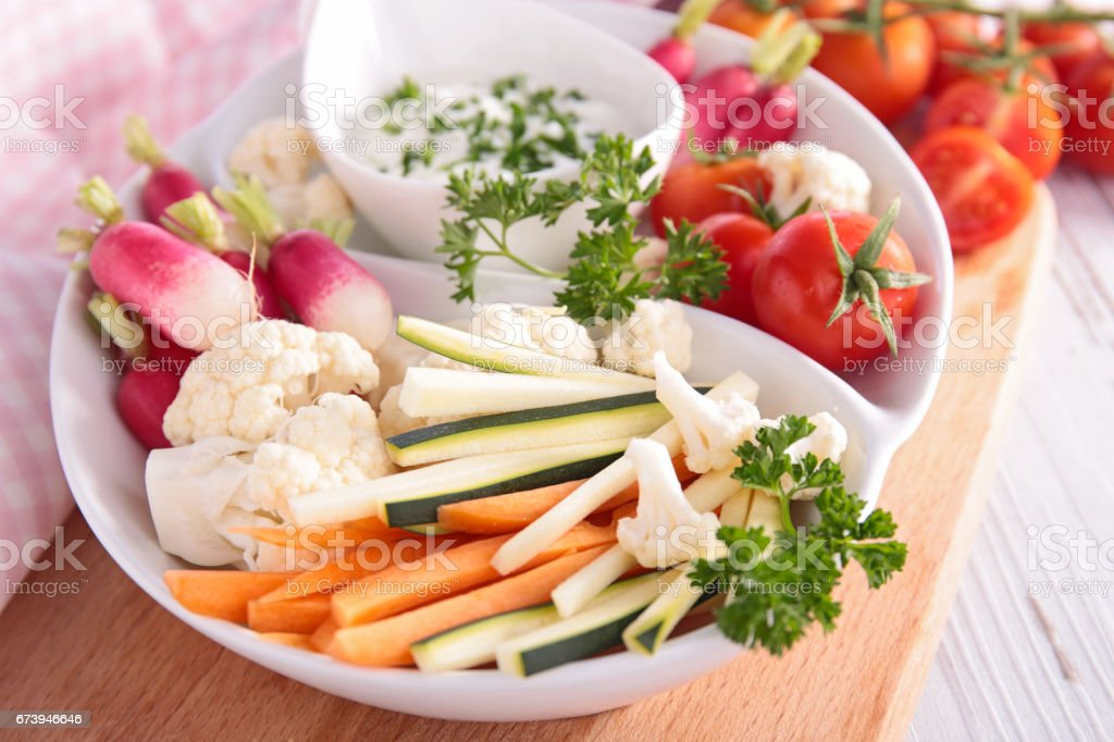 raw vegetable and dip ストックフォト