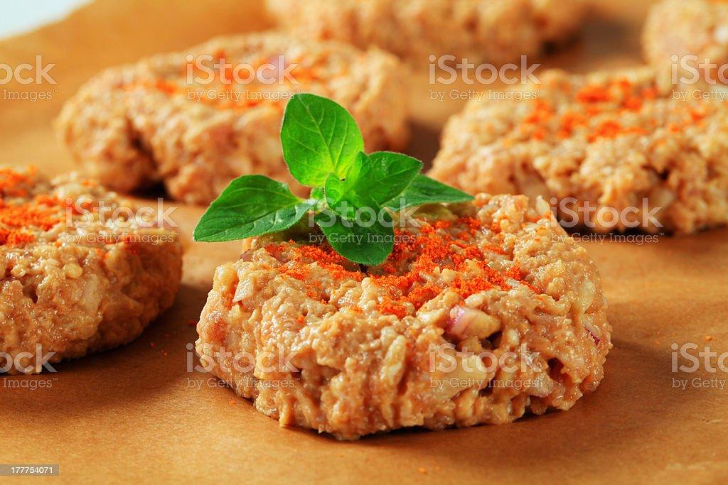 Raw vegetable patties royalty-free stock photo