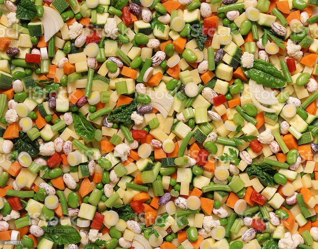 Raw vegetables and legumes soup background royalty-free stock photo