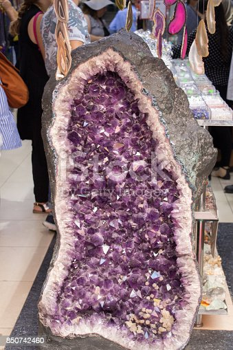 Raw violet amethyst rock with crystal ametist esoteric