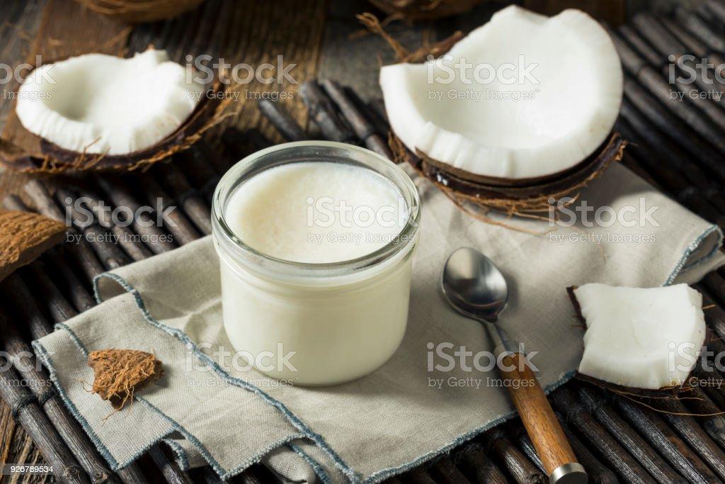Raw White Organic Coconut OIl stock photo
